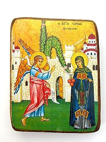 Wooden Greek Christian Orthodox Wood Icon of Saint Irene /