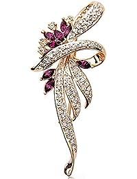 Merdia Créé Crystal Broche Fantaisie Vintage Broche Style pour les femmes, les filles, les dames, la couleur pourpre