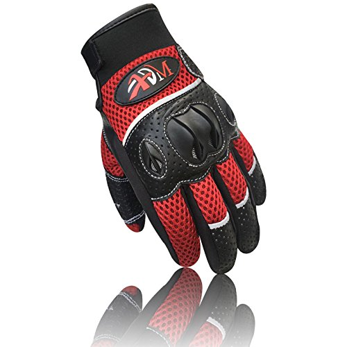 New Full Finger Winter/Sommer Pro Motorrad Biker Racing Motocross Riding Knöchelschutz Kuh Leder Handschuhe Schwarz-Rot 9011, 9011-Black/Red (Leder Full-motorrad-handschuhe)