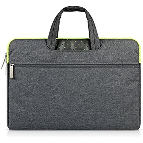 G7Explorer Water-resistant Laptop Sleeve Case Bag Portable Computer handbag For Apple Macbook Air Pro and other Notebook 15.4 inches Deep Gray & Green Zipper