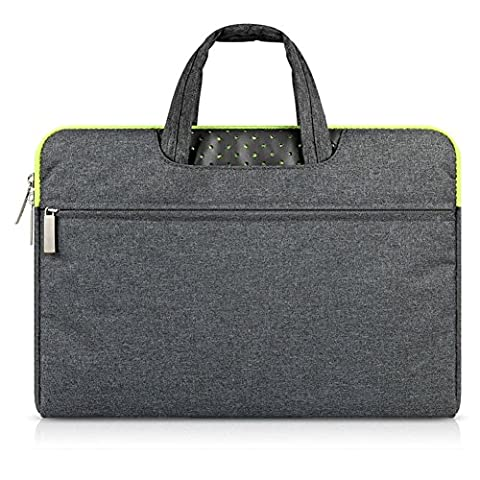 GADIEMENSS Water-resistant Laptop Sleeve Case Bag Portable Computer handbag For Apple Macbook Air Pro and other Notebook 11.6 inches Deep Gray & Green (Luft Zipper)