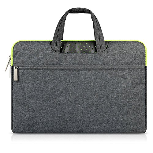 GADIEMENSS Water-resistant Laptop Sleeve Case Bag Portable Computer handbag For Apple Macbook Air Pro and other Notebook 13.3 inches Deep Gray & Green Zipper