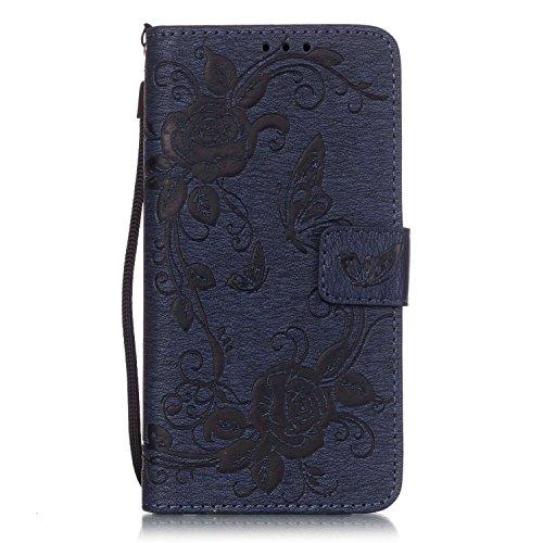 ISAKEN Compatibile con Samsung Galaxy Core Prime G530 Custodia [PU Pelle]con Strap, Fiori Design Custodia in Pelle PU Portafoglio Wallet Cover con Supporto di Stand/Carte Slot - Fiori: Blu Scuro
