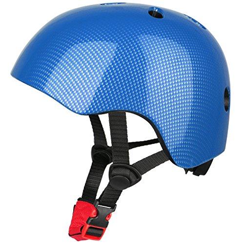Six Foxes Fahrradhelm Kinder - Verstellbare Leichtgewicht Sicherer Kinderhelm, Fahrrad Skating Roller Helm für 3 bis 8 Jahre Mädchen Jungen, 48-54 cm (Blau) -