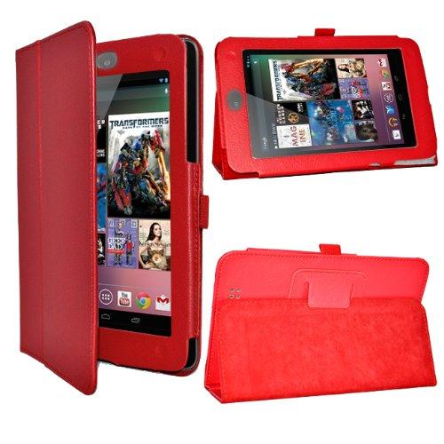 24/7 Kaufhaus- Rot Elegantes Leder Etui / Pouch / Wallet Book / Book Style Tasche für Goggle nexus 7 tablet