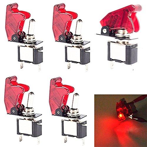 Preisvergleich Produktbild Qiorange 5x Kill Switch Auto Lastwagen KFZ Boot 12V 20A Rot Look LED Kippschalter Schalter LED Licht Schalter EIN/AUS