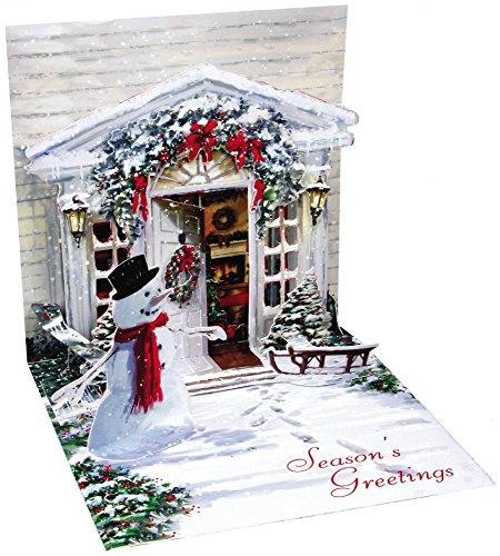 Pop Up 3D Weihnachten Karte PopShot Weihnachts Schneemann Eingangstür 13x13 cm