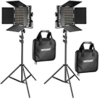 Neewer 2 Pieces Bi-color 660 LED Video Light and Stand Kit Includes:(2)3200-5600K CRI 96+ Dimmable Light with U Bracket and Barndoor, (2)74.8 inches Light Stand for Studio Photography Video Shooting