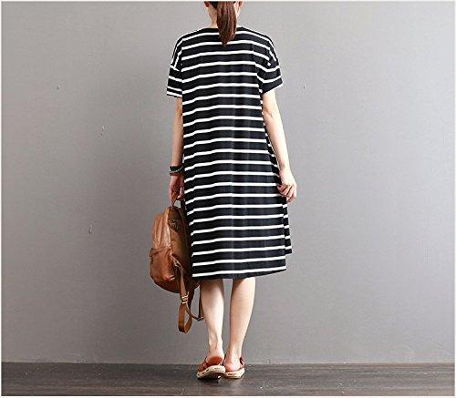 das neue kleid mädchen lange baumwolle gestreiften kurzärmeliges locker ein a - line umfasst rock ärmel kopf unterm kleid l