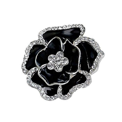Yazilind Exquisite Braut Hochzeit Rhinestones Rose Blume Legierung Brosche Corsagee Frauen Mädchen Zubehör (schwarz)