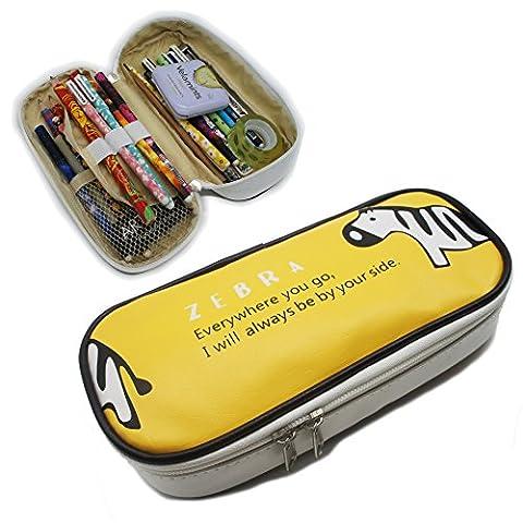 Artone Zebra Big Capacity Pen Case Stationery Pounch Cosmetic Bag Yellow - Zebra Porta Penne