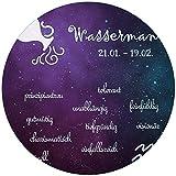 Wallario rundes Glasbild Sternzeichen Wassermann - 50 cm Durchmesser in Premium-Qualität: Brillante Farben, freischwebende Optik