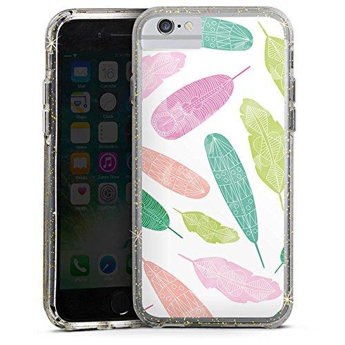 Apple iPhone X Bumper Hülle Bumper Case Glitzer Hülle Wasserfarbe Watercolour Bunt Bumper Case Glitzer gold