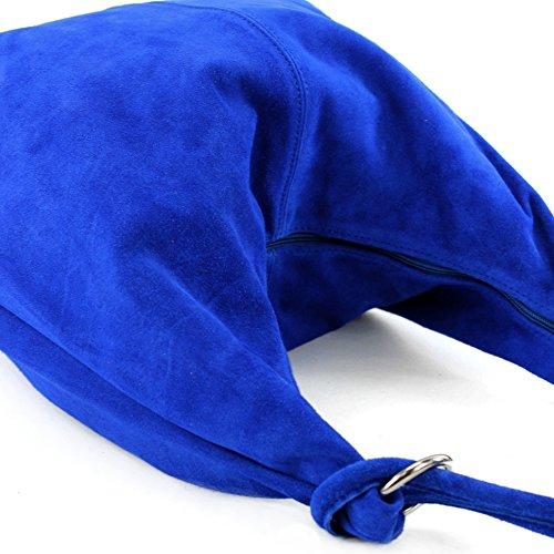 ital. Ledertasche Damentasche Handtasche Tasche Hobo Bag Schultertasche Wildleder T48 Royalblau/Wildleder