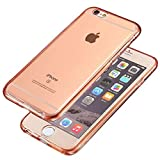 FinestBazaar Shockproof 360 � Ultra Thin Jelly Gel TPU Silicone Protective Hybrid Clear Case Cover For Apple iPhone 4/4s (Rose Gold)