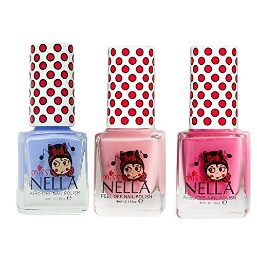 Miss Nella Schaukel rosa A Boo, Cheeky Bunny Glitter, blau Bell Spezial Glitzer Kinder Nagellack mit Peel Off auf Wasserbasis Formel -