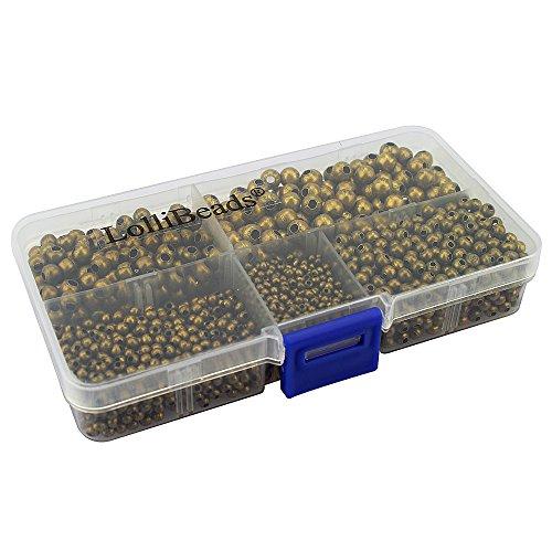LolliBeads (R) Schmuckperlen, runde Abstandhalter-Perlen aus Metall, metall, Bronze 2100 Pcs Mixed Size, Assorted Metall-perlen