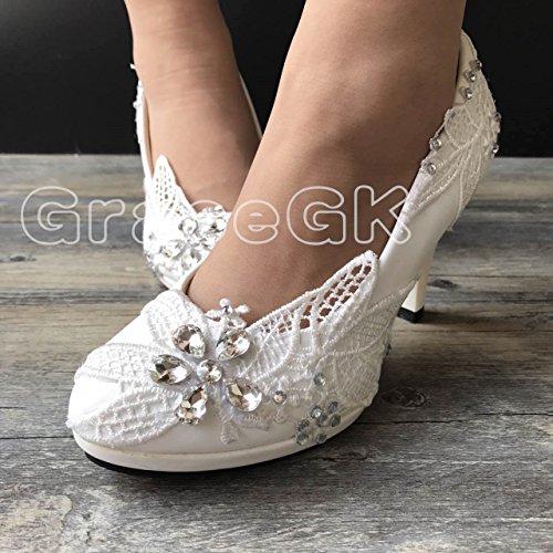 6a488d7d1267 JINGXINSTORE Lace White Crystal Wedding Shoes Bridal Low High Heel Pump