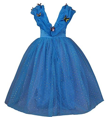 Imagen de jerrisapparel nuevo vestido de niña ceremonia princesa disfraz con mariposa 120cm, azul  alternativa