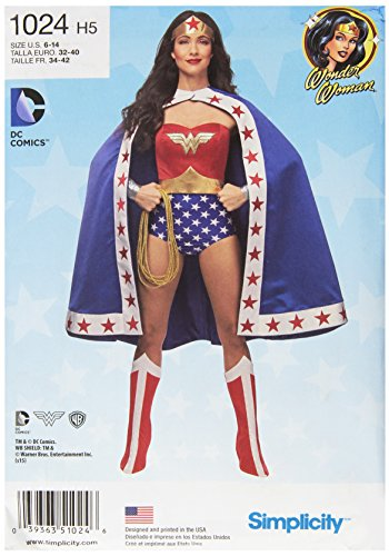 Simplicity Klassisches Damen-Kostüm Wonder Woman Cosplay und Halloween, Größen - Wonder Woman Comic Kostüm