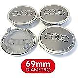 4 tapones tapacubos Audi 69 mm A3 A4 A5 A6 A7 TT Q3 Q5 ...