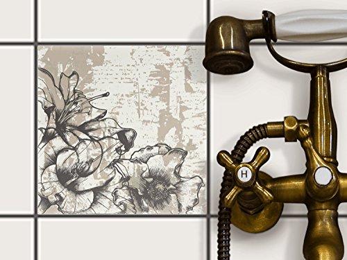 Fliesen Dekorfolie, Küchen-Fliesen | Fliesentattoo Küche Bad Kühlschranksticker Wandtattoo | 20x20 cm Muster Ornament Styleful Vintage 1 - 1 Stück