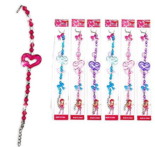 Partynelly® 8x Armband Herz, Mitgebsel zur Mädchenparty, Kinderparty, Geburtstagsmitgebsel für Mädchen