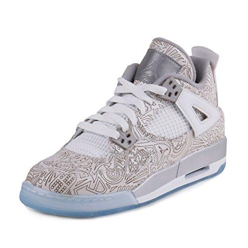 Nike Air Jordan 4 Retro Laser Bg, Chaussures de Sport Garçon White/Chrome-Metallic Silver