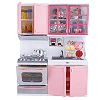 Garosa Kitchen Play Set Kids Mini Pink Kitchen Cooking Set Toy Pretend Play Cookware Many Optional Role-playing with Lights and Sounds