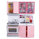 Garosa Spielküche Rollenspiel Mini Pink Kochgeschirr Kinderküche Pädagogisches Spielzeug Geschenk für Kinder mit Licht und Sound