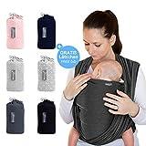 Makimaja - Écharpe de portage gris foncé - porte-bébé de haute qualité pour nouveau-nés et bébés jusqu'à 15 kg - en coton doux - incl. sac de rangement et bavoir bébé...