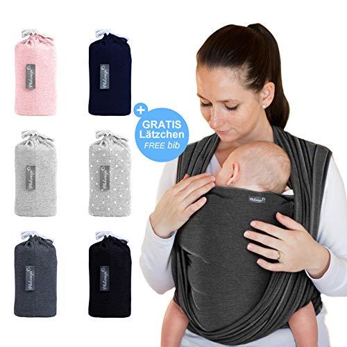 Babytragetuch Dunkelgrau - hochwertiges Baby-Tragetuch für Neugeborene und Babys bis 15 kg - inkl. GRATIS Baby-Lätzchen