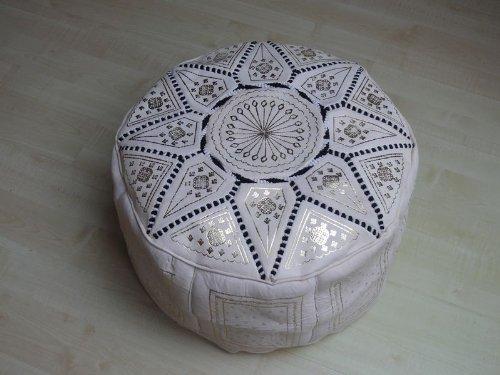 Marrakech Accessoires Orientalisches Sitzkissen Pouf Bodenkissen Hocker Leder Kissen XXL Ø 70 cm -