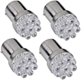 4 1156 382 1093 BA15S P21W White 9 LED Tail Stop Parking Light Bulb Lamp