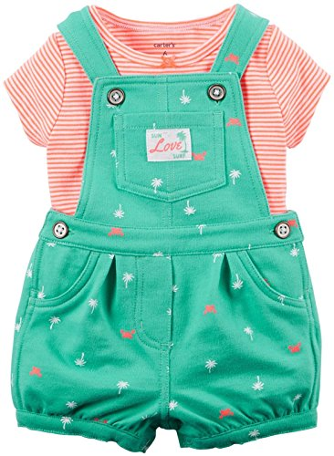 Carters's Latzhose + T-Shirt Sommer Set Baby Mädchen Shorts Outfit girl Shorts (56/62, Grün)