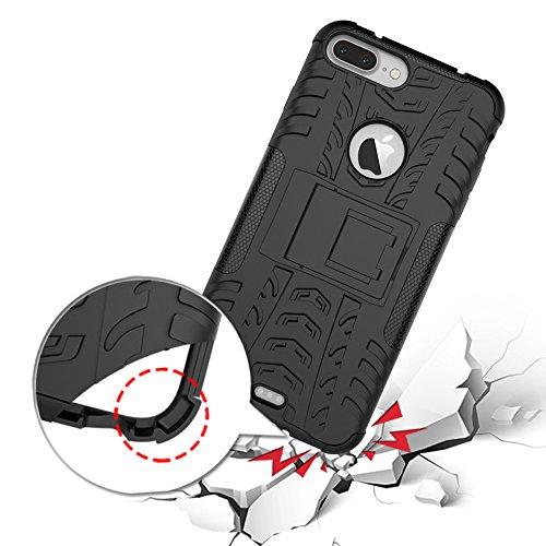 MOONCASE iPhone 7 Coque, Double Couche d'Armure Lourde Case Hybride Anti-dérapante Absorbant Chocs Protection Étui avec Béquille pour Apple iPhone 7 Rose Violet