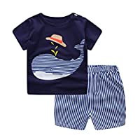 Ancia Unisex Baby Boys Girls 2-Piece Cotton Pajama Sleepwear Summer Outfits Set(2-3 Years,Whale)