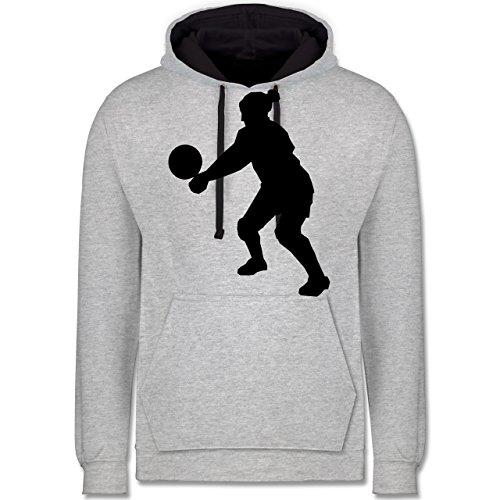 Volleyball - Volleyball - Kontrast Hoodie Grau meliert/Dunkelblau