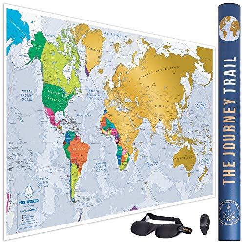Mapa mundi rascar más grande 84x57cm más destinos
