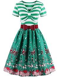 Dissa Damen 50er Retro Cocktail Vintage Rockabilly Kleid,Grün