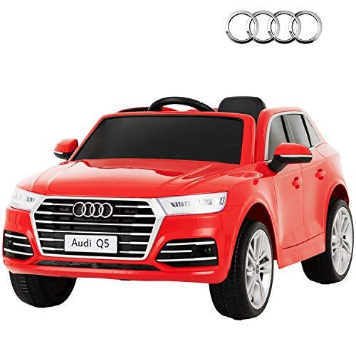 UEnjoy Kompatibel mit Kinderauto Audi Q5 12V SUV Kinderfahrzeug Elektroauto mit Fernbedienung, LED Leuchten, Bluetooth, Musik, Federaufhängung, Doppeltür,Rot