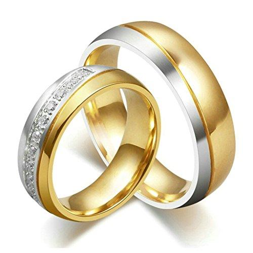 Aooaz Edesltahl Ring Unisex Silber Gold Paar Ring Twill Breite 6 MM Herren Ring Biker Hochzeit Größe57 (18.1) (Brettspiel Paar Kostüme)