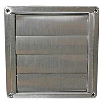 spares2go Extracteur en acier inoxydable carré externe Sortie Aérateur mural avec rabats (100mm, 10,2cm)
