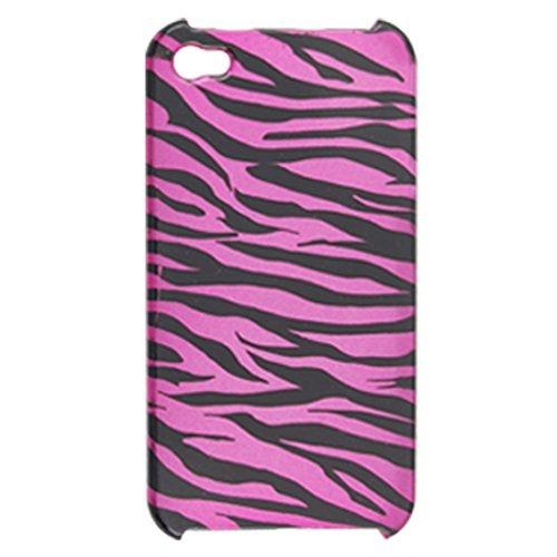 DealMux Amaranth rosa schwarzen Hartplastik Zebra-Druck zurück Fall Shell für Das iPhone 4
