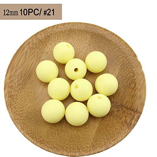 Best for baby Silikon Beißring 10pc (12mm) Süßigkeiten gelb Natürlich SilikonPerlen BPA frei Baby Beißring DIY Beads