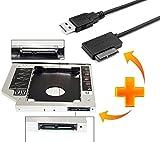 #3: SATA 2nd Bay Hard Drive Caddy, 9.5mm Universal for CD/DVD Drive Slot & USB 2.0 to 7+6 13pin Slimline SATA Adapter (Combo Offer)