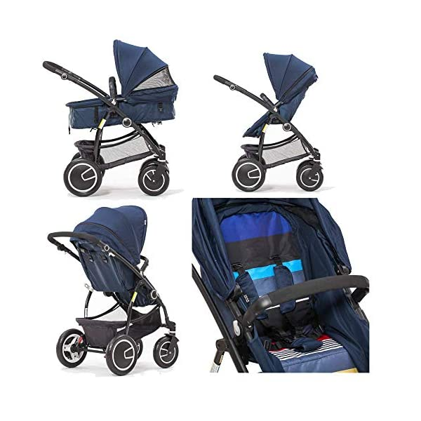 Comfortable Prams Baby Stroller High Landscape with Reversible Bassinet Compact Buggy Suitable for Children 0-3 Years Old, 90x115cm (Color : Brown) CAR - Quick folding system. The folding stroller weighs about 11KG and is light! - Five-point seat belts protect your baby at all times, and parents don't have to worry about your baby slipping out of the stroller. Waterproof, fireproof, foldable to compact size, space saving, 360° rotating double front rubber wheel, sturdy rubber wheel, 5-point seat belt, safety bar, one-touch foot brake 2