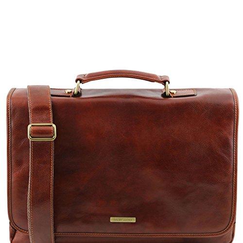 Tuscany Leather Mantova - Cartable TL SMART multi compartiments en cuir avec rabat - TL141450 (Marron foncé) Marron