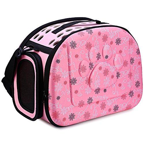 GBlife Portador Bolsa de Transporte Reversible Transportín Plegable para Msacotas Capazos de Perros Gatos(Rosa)