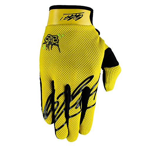 Born 2B Awesome Maniac RACEWEAR leichte Handschuhe Mountain Bike Downhill Enduro Motocross Freeride DH MX MTB BMX Quad Cross, schnelltrocknend, rutschfest und atmungsaktiv, Farbe Gelb, Größe XL